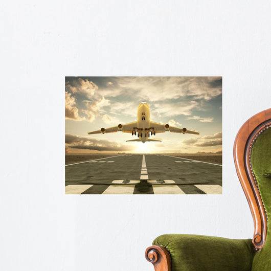 Airplane Taking off Sunset Wall Mural