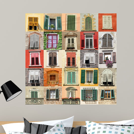 Collage With Old Windows From Italy Europe Wall Mural