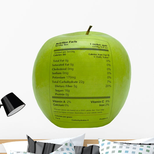 Green Apple With Nutrition Facts Wall Decal