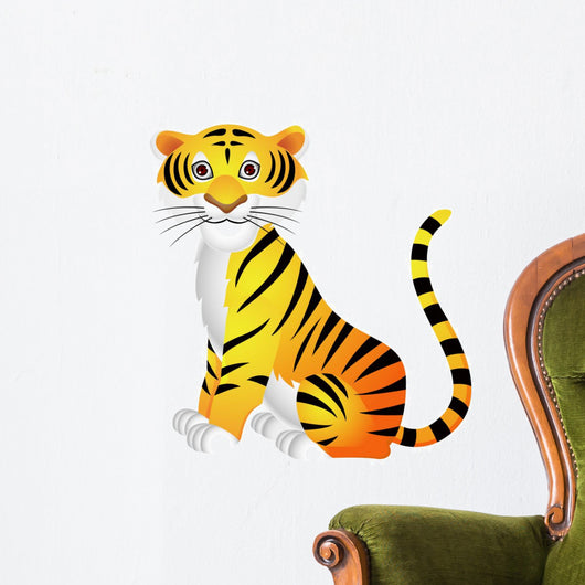 Tiger cartoon sitting Wall Decal