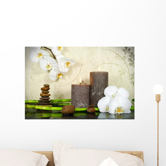 White Orchid with Bamboo