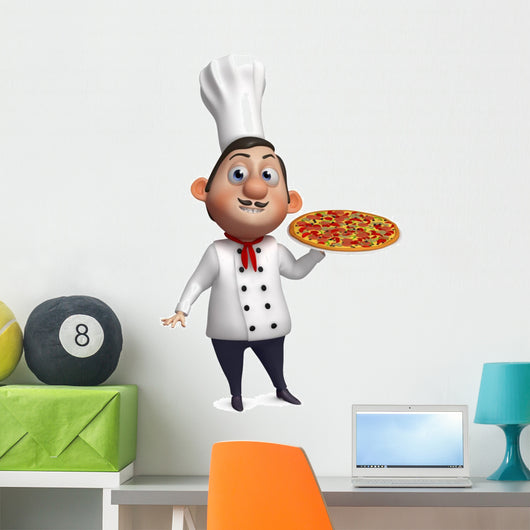 3D Chef with Pizza Wall Decal