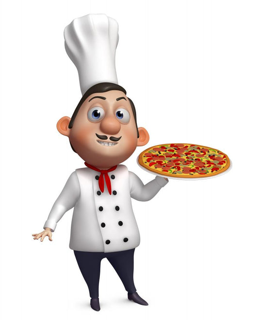 3d chef with a pizza Wall Decal
