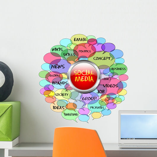 social network and media concept, switch Wall Decal