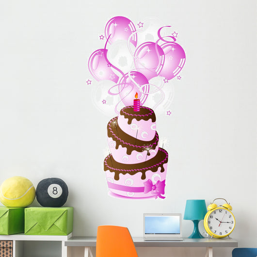 Pink Birthday Cake Wall Decal Sticker Set