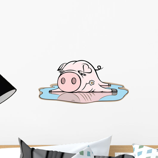 Piggy in Puddle Wall Decal