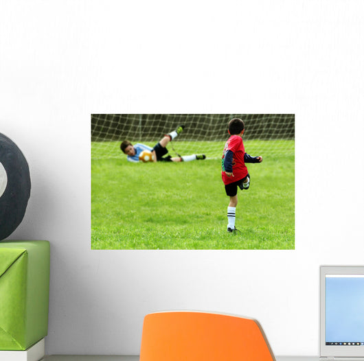 Boys Playing Soccer Wall Mural
