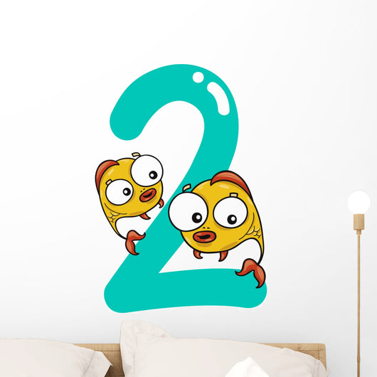 Number Two and 2 Fish Wall Decal