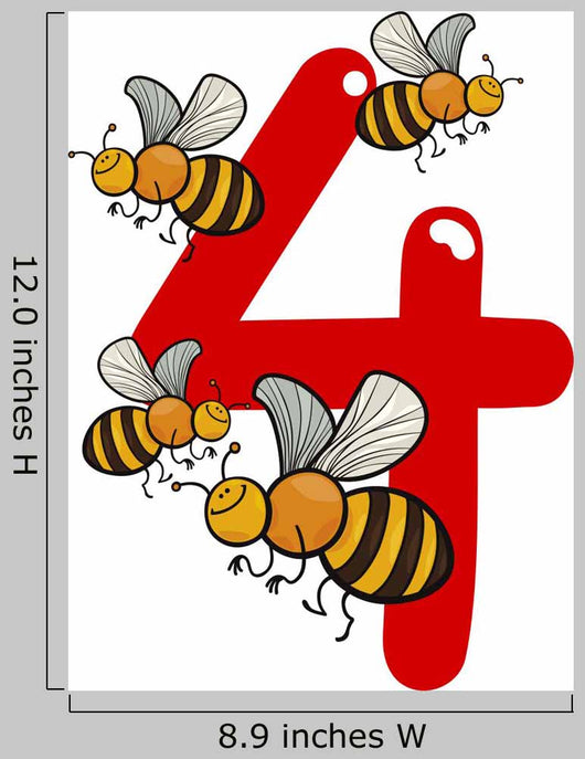 Number Four and 4 Bees Wall Decal
