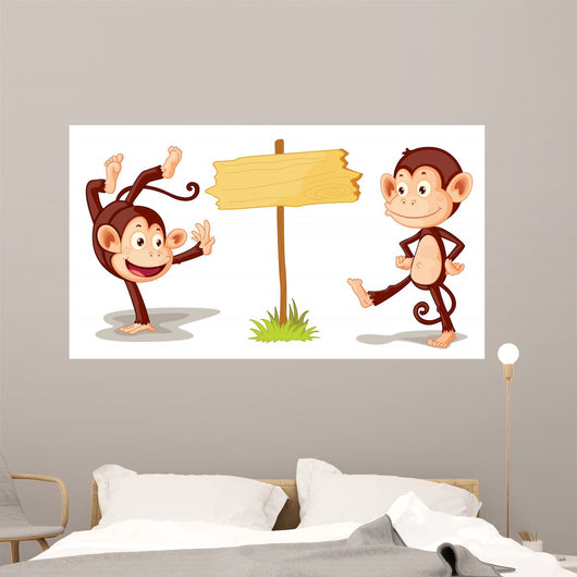 Monkeys with Banner Wall Mural