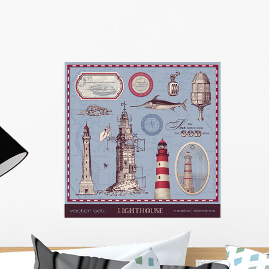 Vector Set Lighthouse Vintage