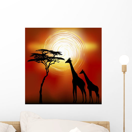 African Landscape With Giraffes Wall Mural