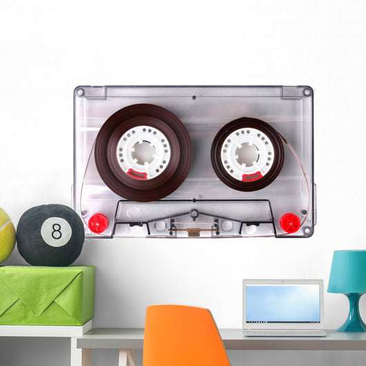 Audio Cassette with Color Label Isolated on White Wall Decal