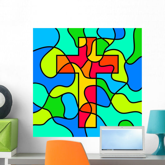 Stained Glass Cross Wall Mural