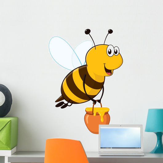 Vector happy bee flying with a brimful jar of delicious honey Wall Decal