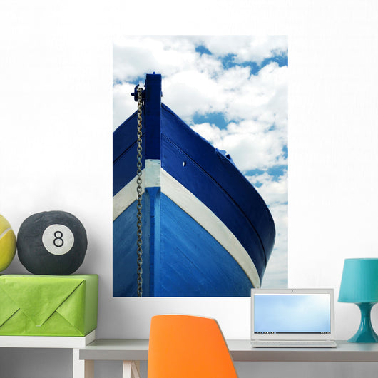White and blue wooden boat Wall Mural