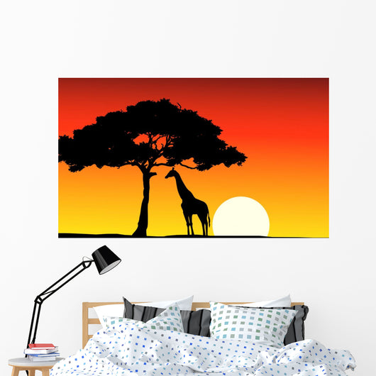 African Sunset background with giraffe Wall Mural