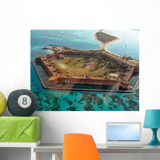 Aerial View of Fort Jefferson Florida Wall Mural