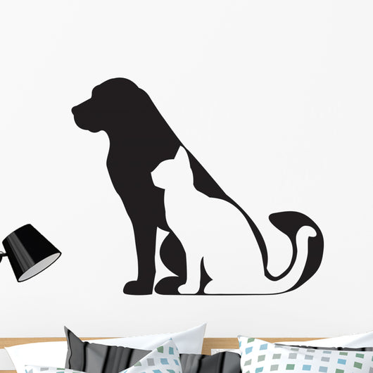 Dog and Cat Silhouettes (Side) Wall Decal