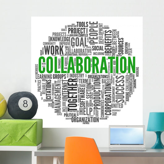 Collaboration concept in word tag cloud Wall Decal