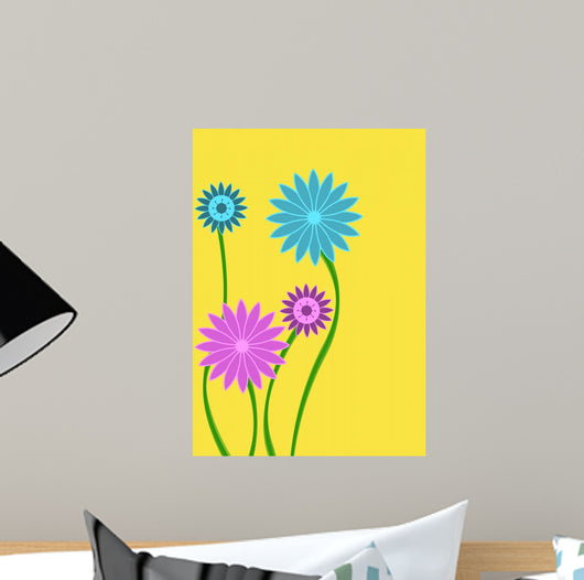 Pink and Blue Abstract Flower on Yellow Wall Mural