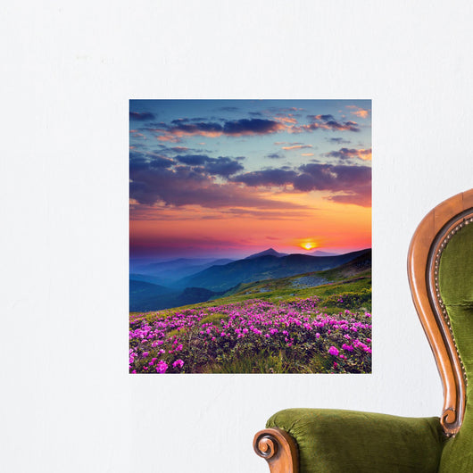 Mountain Landscape at Sunset Wall Decal