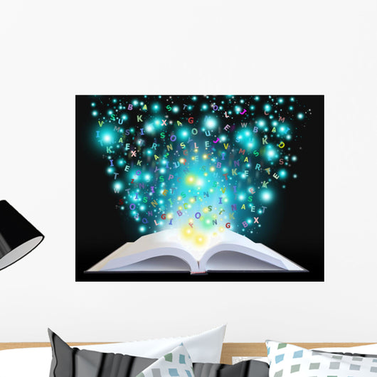 Magic Book with Letters Wall Decal