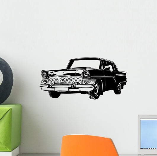 Retro Car Vector Illustration Wall Decal