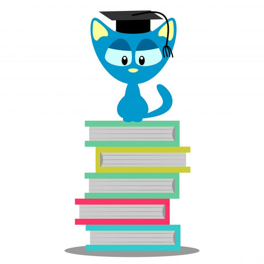 Cute Kitty Sitting Books Wall Decal