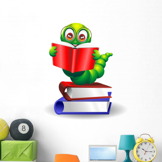 With Book-Worm Worm Cartoon Cartoon with Books-Vector Wall Decal