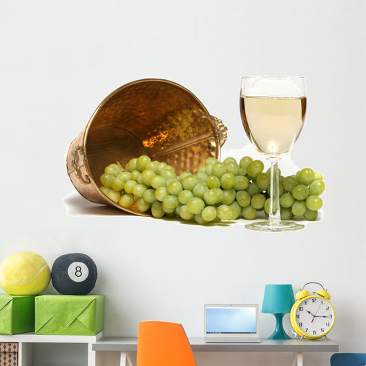 White Wine and Grapes Wall Decal