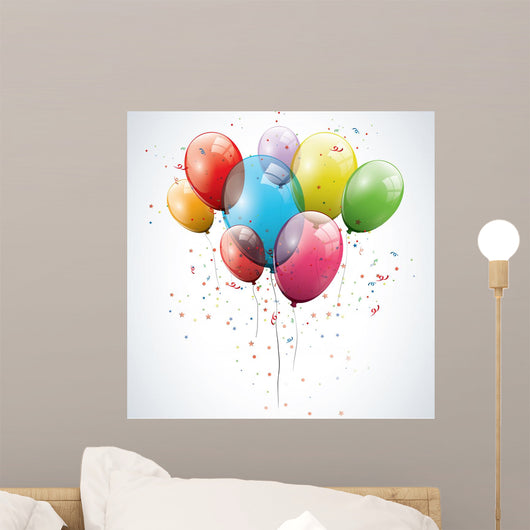 Transparent Birthday Balloons Wall Decal