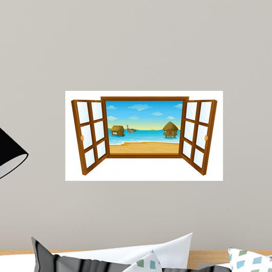Pacific Island Window Illustration Wall Decal