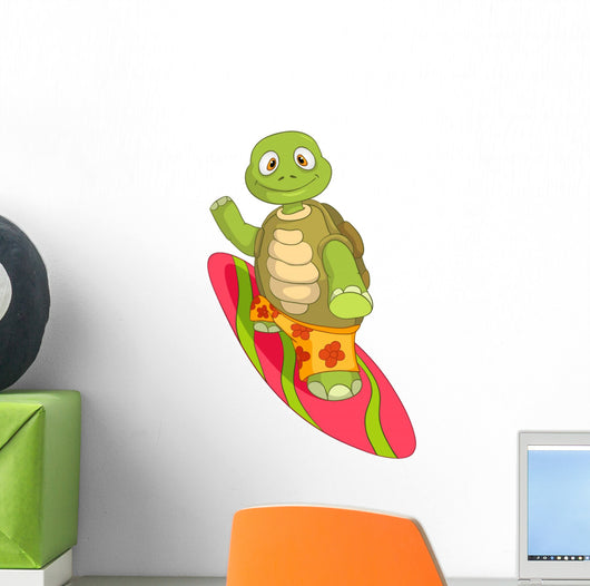 Funny Turtle Surfing Wall Decal