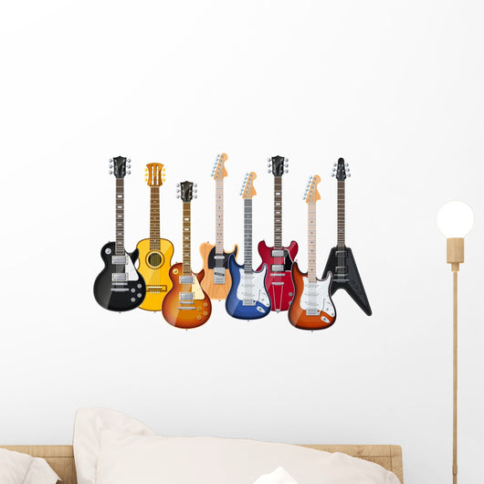 acoustic and electric guitars set of vector icon illustration Wall Decal