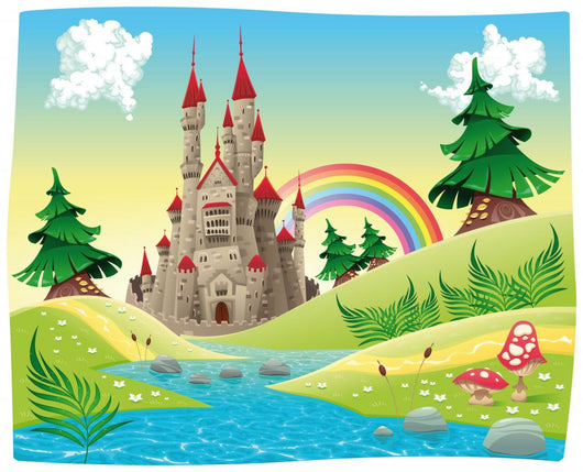 Panorama with Castle Cartoon Wall Decal