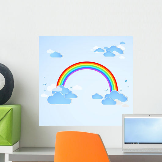 Sky with Rainbow Vector Wall Decal