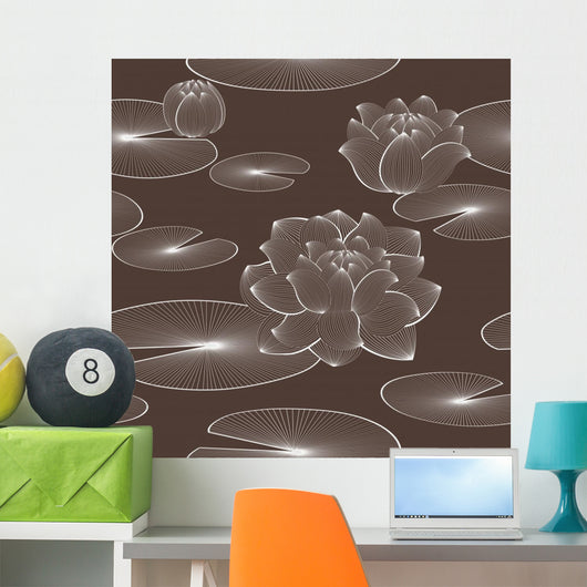 Lotus Flower Seamless Pattern Wall Decal