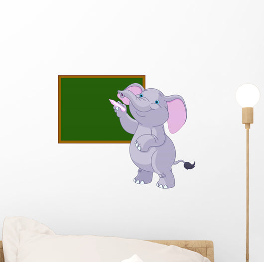 Elephant Writing Blackboard Wall Decal