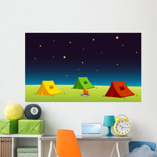 Three Cartoon Tents Under Stars Wall Decal