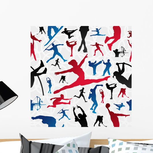Sports Silhouettes Pattern Wall Decal