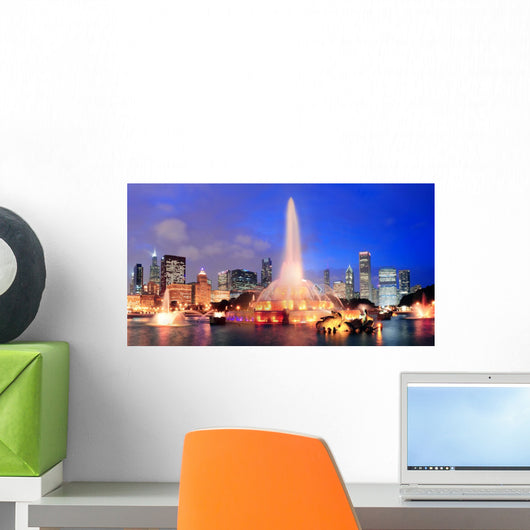 Chicago Night Scene Wall Decal