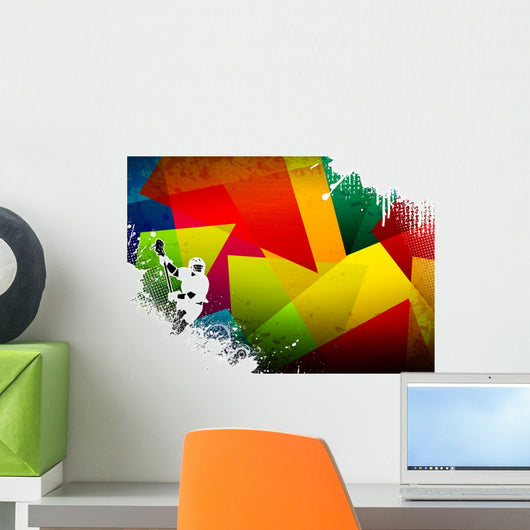 Colorful, Abstract Lacrosse Wall Decal