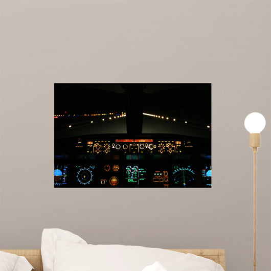 Aircraft Landing Night with Wall Decal