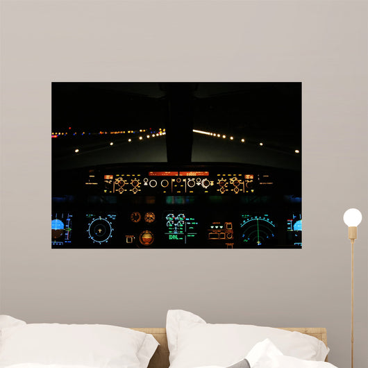 Aircraft Landing Night with Wall Mural