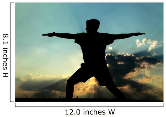 Silhouette of Man Practicing Yoga Wall Mural
