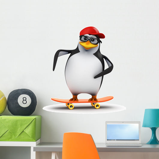Penguin Skateboard Wall Decal