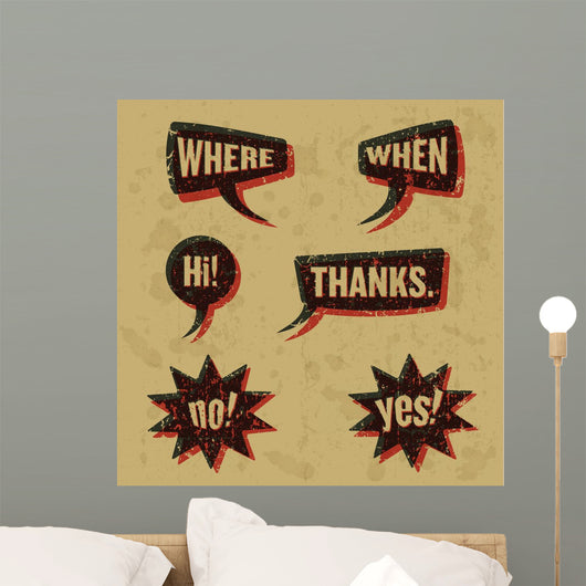 Vintage print speech bubbles words 02 Wall Decal