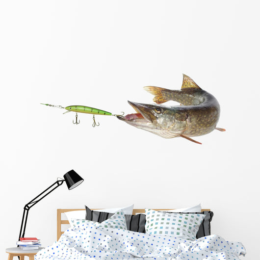 pike and artificial bait Wall Decal