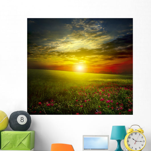 Green Meadow Sunset with